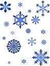 Blue snowflakes collection Stock Photos