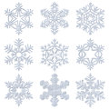 Blue snowy decorative snowflakes set of isolated on white background Stock Photos