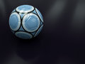 Blue Soccer Ball on Dark Background Stock Photography
