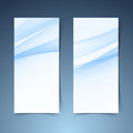 Blue soft line wave vertical banner set Royalty Free Stock Photo