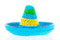 Blue sombrero isolated over white background Royalty Free Stock Image