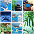 Blue spa collage Royalty Free Stock Photo