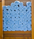 Blue Spa Towels in Wood Stock Photos