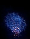 Blue sparkle firework on the dark night of new year festival Stock Photography