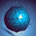 Blue spatial vector digital lattice backdrop, dimensional techno Royalty Free Stock Photo