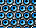 Blue speakers wall Stock Photography