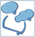 Blue speech bubble with a frame vector pcs Stock Photo