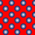 Blue spheres on red seamless pattern Royalty Free Stock Photo