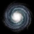 Blue spiral galaxy against black space