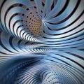 Blue spiral metallic spiral technological modern abstract