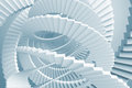 Blue spiral stairs maze abstract background with light Royalty Free Stock Image