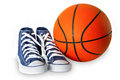 Blue sport shoes and basketball Royalty Free Stock Photo