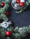 Blue spruce tree branches with Christmas baubles. Copy space Royalty Free Stock Photo