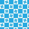 Blue square with blue flower checkered pattern background Royalty Free Stock Photo