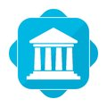 Blue square icon bank Royalty Free Stock Photo