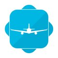 Blue square icon plane