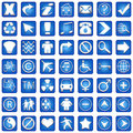Blue Square Icons Set Part 1 Stock Photos