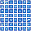 Blue Square Icons Set Part 3 Stock Images