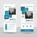 Blue square roll up business brochure flyer banner design , cover presentation abstract geometric background, modern publication