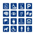 Blue square set of disability icons. Disabled icon set.