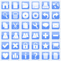 Blue Square Stickers Icons [1] Royalty Free Stock Photo