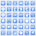 Blue Square Stickers Icons [3] Royalty Free Stock Photo