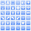 Blue Square Stickers Icons [4] Royalty Free Stock Photo