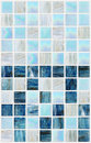 Blue square tiles with various effects marble abstract Stock Photos
