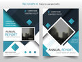 Blue square Vector Brochure annual report Leaflet Flyer template design, book cover layout design, abstract business presentation Royalty Free Stock Photo