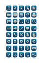 Blue square web icons set of Stock Photography