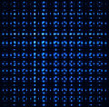 Blue squares, crossing abstract pipes, metal pieces, dark background