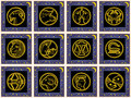 Blue squares with signs of the zodiac Royalty Free Stock Images
