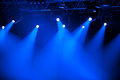 Blue stage spotlights Stock Photo