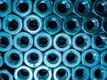 Blue stainless nuts texture background patterns Stock Photos