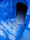 Blue stairs of a typical house in morocco Stock Photos