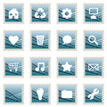 Blue stamp icons Royalty Free Stock Images