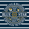 Blue star sailing boating vector artwork for sportswear in custom colors Royalty Free Stock Photos