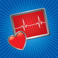 Blue starburst heart monitor Royalty Free Stock Photo