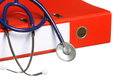 Blue stethoscope and red binder isolated on white Royalty Free Stock Photo
