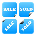 Blue stickers or labels Royalty Free Stock Photo