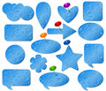Blue stickers set with misted glass effect Royalty Free Stock Photo