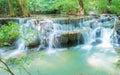 Blue stream waterfall in kanjanaburi thailand beautiful huay mae ka min at national park Royalty Free Stock Image