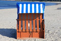Blue striped beach chair Royalty Free Stock Images
