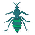 Blue striped beetle with long paws and a rattle. Vector illustration. Drawing by hand.