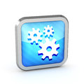 Blue striped icon with gears on a white background Stock Image