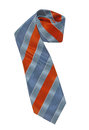 Blue striped tie isolated on white Stock Photos