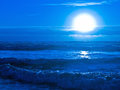 Blue Sunset Over the Ocean Royalty Free Stock Images