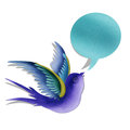 Blue swallow with bubble message. Stock Image