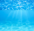 Blue swimming pool water surface and underwater Royalty Free Stock Photo