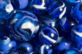 Blue swirl marbles a collection of purple and white Stock Photo